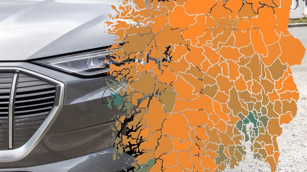 I de fleste kommunene er andelen elbiler i bilbestanden helt marginal (oransje farge). Bare i noen svært få kommuner er mer enn hver femte registrerte bil, elektrisk (helt grønne kommuner).