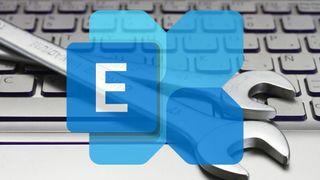 Microsoft Exchange-logo, tastatur og fastnøkler.