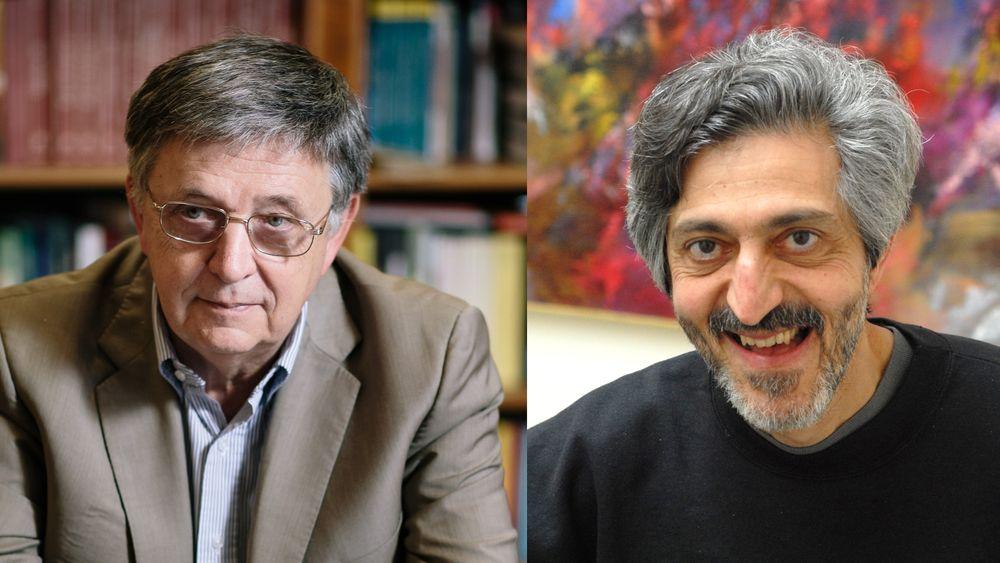 Vinnerne av Abelprisen 2021, László Lovász og Avi Widgerson.