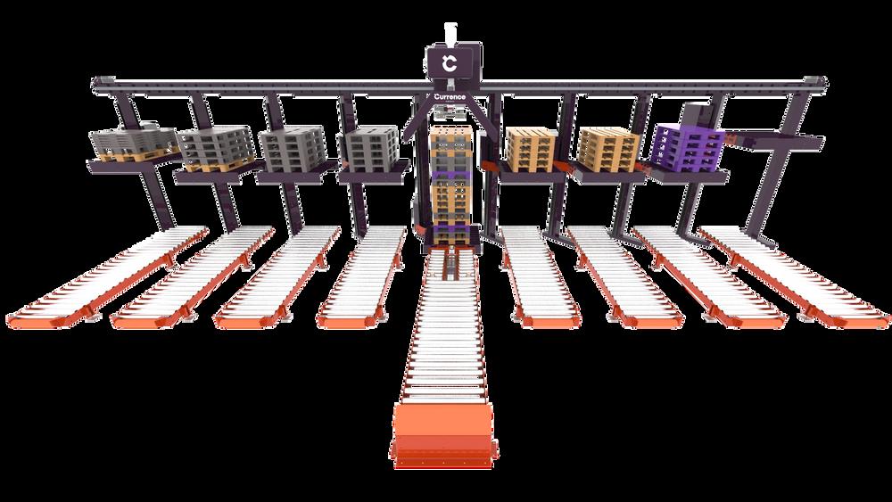 Illustrasjonen viser pallsorteringsroboten «Sort» skalert opp til åtte moduler.