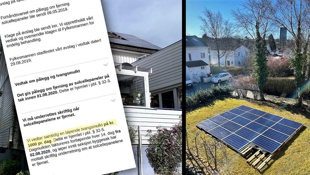 Av estetiske hensyn fikk ikke huseieren lov til å ha solceller på taket. Å legge dem på plenen foran huset er derimot greit, ifølge kommunen.