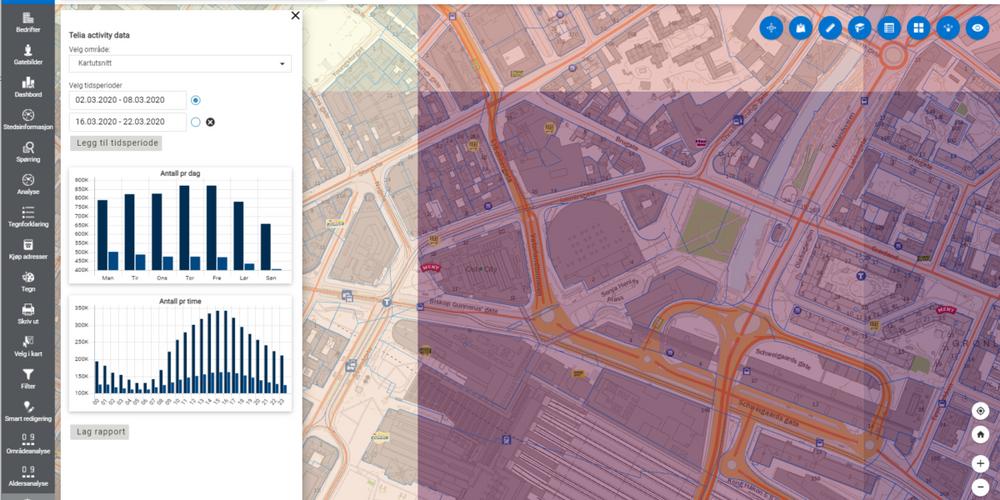 Bildet er fra Location Analytics og viser en uke før og en uke etter første nedstengning i mars i fjor.