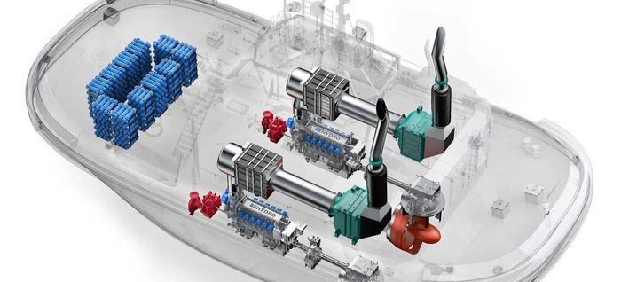Gjennomskåret illustrasjon viser plassering av hydrogentanker (blå) og motorer i Hydrotug. Den skal ha to 16 V DF-motorer på 2 MW, til sammen 4 MW og Volvo Penta Tier III-godkjent hjelpemotor.  Hydrogen lagres på 396 sylindriske trykkbeholdere, totalt 405,5 kg H2. Taubåten med 65 tonn trekkraft skal brukes på havna i Antwerpen.