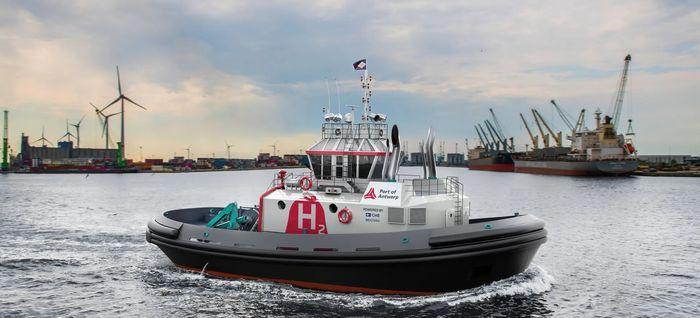 Hydrotug skal ha to DF-motorer med inntil 85 prosent hydrogen innblandet i diesel. Den skal benyttes i Antwerpen og får en trekkraft på 65 tonn.