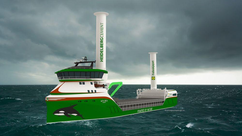To Flettner-rotorer vil i lange perioder være nok til å drive skipet framover i 8 knop langs den planlagte ruten Østlandet-Rogaland for 5.500-tonneren. Fem containere (med plass til +5) på akterskipet inneholder trykkbeholdere med H2 for ABC/CMB-motoren .