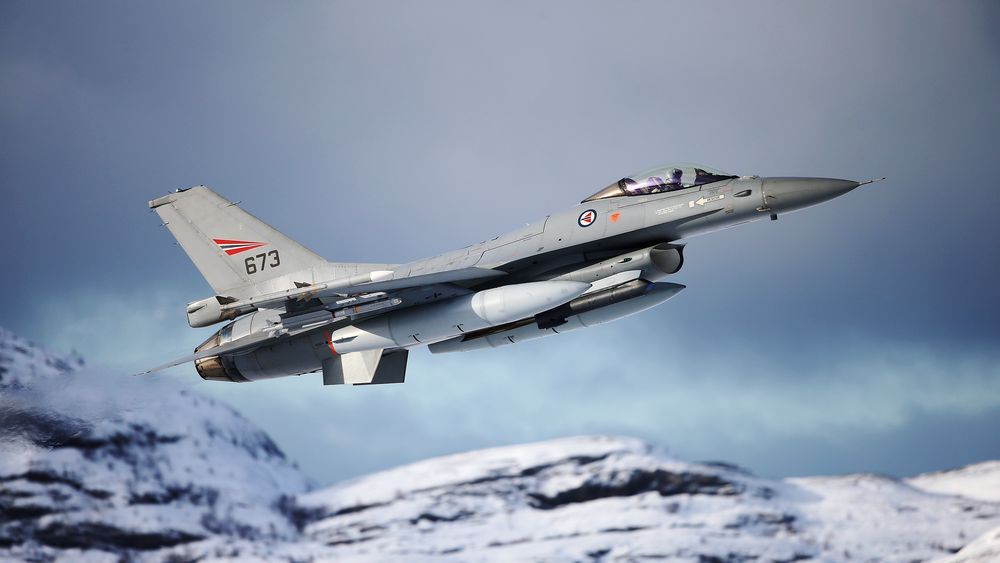 F-16 fra 331 skvadron tar av fra Bodø 8. mars 2021.