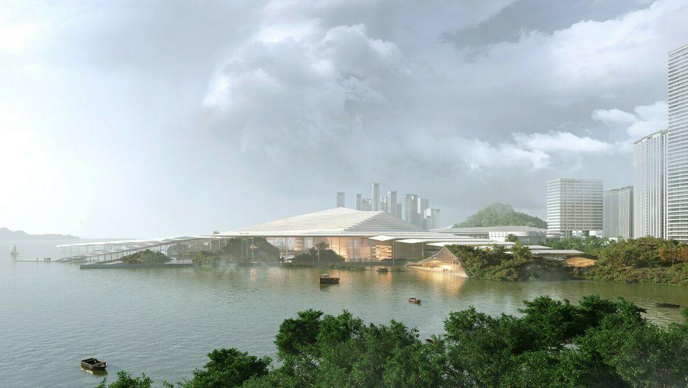 Operaen skal ligge i Shenzhen-bukta. Denne tegningen viser hvordan Snøhetta hadde sett for seg bygget i miljø.