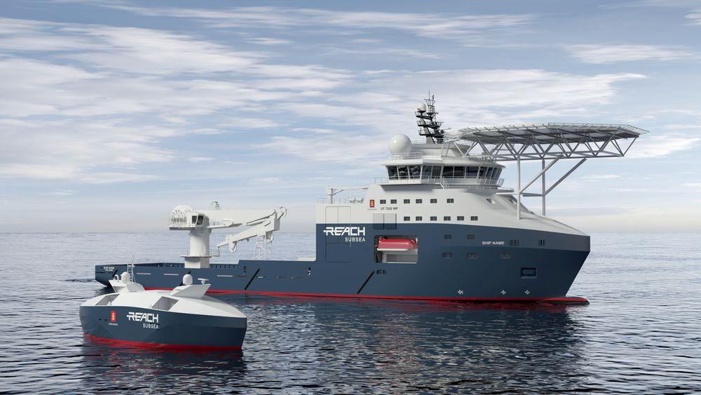 Det vesle, ubemannede fartøyet i forgrunnen skal i mange undervannsoperasjoner kunne erstatte dagens bemannede service-fartøyer som er ca. 80 meter lange.
