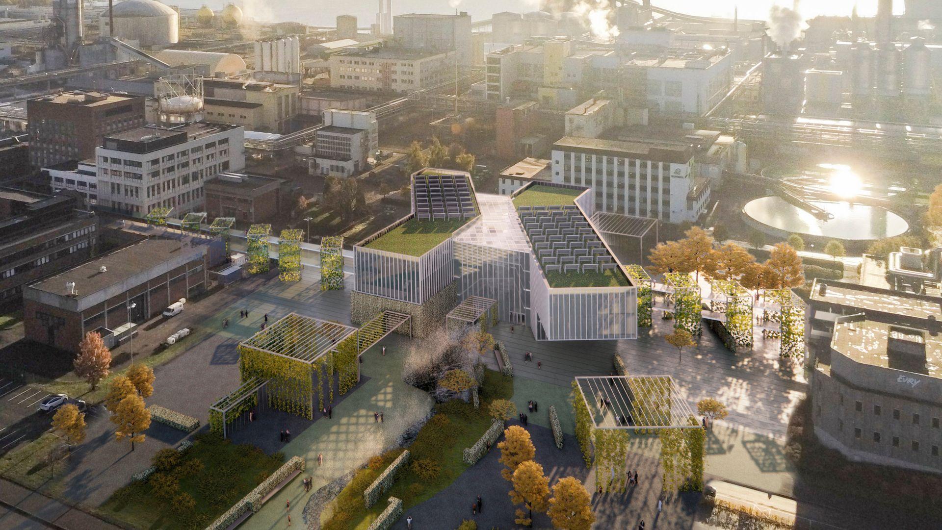Herøya Industripark AS utvider og bygger Seidr, et større sted for industriell innovasjon og teknologi i Norge. Arkitektskisse av Børve Borchsenius Arkitekter AS og Arkitektgruppen Cubus AS.
