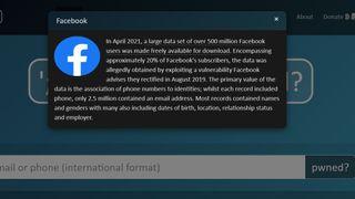 Informasjon på tjenesten Have I Been Owned om Facebook-lekkasjen som ble kjent i begynnelsen av april 2021.