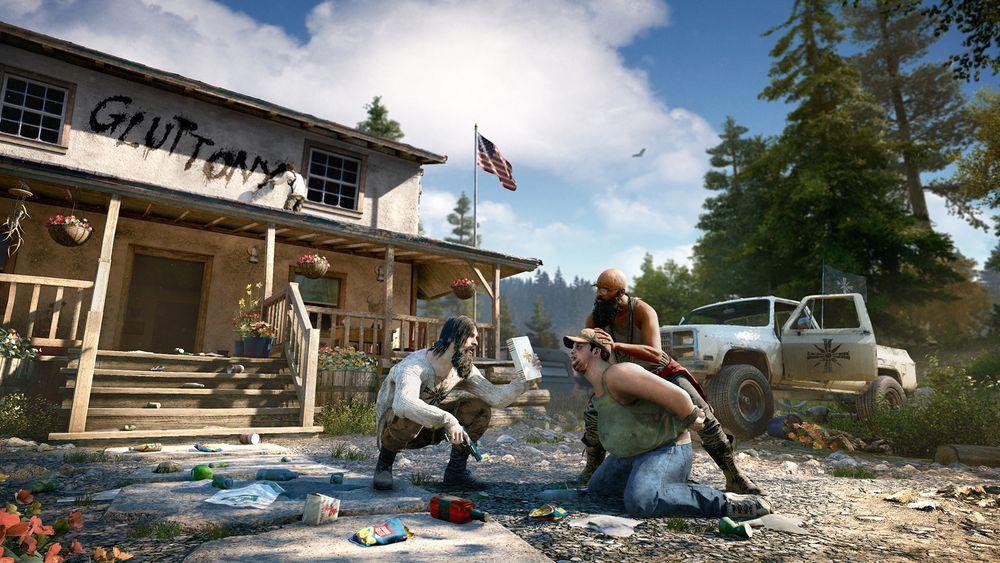 Skjermbilde av to bevæpnede spillfigurer som tvinger en tredje til å se på en bibel.