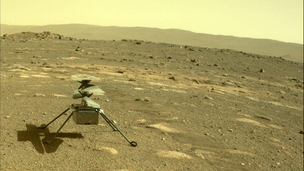 Nasa's helikopter Ingenuity på Mars, sett gjennom roveren Perseverance kamera, 4 . april 2021.