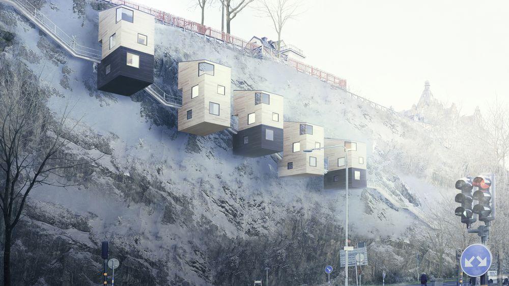 Svenske Nestinbox har funnet en løsning for å bosette mennesker i «fuglekasser» på fjellet.