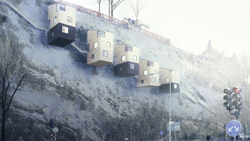 Nestinbox hytte bolig trehus fjellside stål Pontus Öhman moderna trähus arkitekt tre svensk sverige stål mikrohus