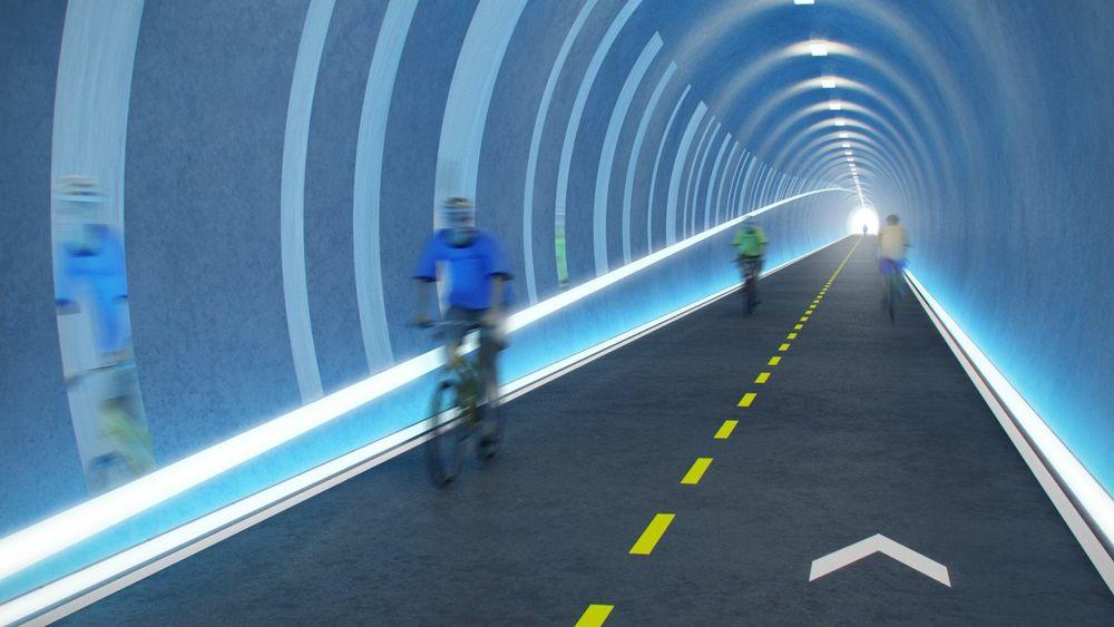 Danske forskere mener det de kaller for super-sykkelveier er så samfunnsøkonomiske at de bør få en større andel av kronene som brukes på infrastruktur. Her illustrert ved den planlagte tunnelen på sykkelstamveien i Stavanger.