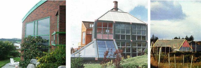 Figur 2. Norske eksempler på bygningsintegrasjon som jeg som arkitekt tidlig utførte. Til venstre, bolig i Hafrsfjord, Stavanger med veggintegrert solenergianlegg, 1985. I midten, fra Bygg for Fremtiden på Forus, 1988, Europas første moderne nullenergibolig med tak og veggintegrert solenergianlegg. Til høyre, Stavanger Squash Senter, 1990, Norges største takintegrerte solenergianlegg.