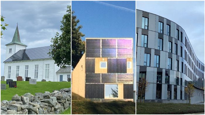 Figur 4. Nyere eksempler fra de siste fem årene viser flere gode løsninger. I midten, 10kW solstrømanlegg bygningsintegrert i veggene på kompakthuset i Randaberg tegnet av artikkelforfatteren Til venstre, på Strand kirke i Rogaland er hele skifertaket byttet ut med solceller. Til høyre er veggintegrerte solceller bruk til å rehabilitere fasadene på Oljedirektoratet ved UiS Campus, Ullandhaug.