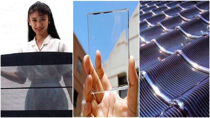 Figur 6.  Allerede i 1989 fotograferte jeg disse Sanyo produktene på en verdenskongress for solenergi i Kobe, Japan. Til venstre, vindusglass som stopper litt av varmestrålingen fra sola for å redusere belastningen på aircondition anlegget samtidig som det produserer solstrøm. I midten et lignende produkt fra 2020. Til høyre, Sanyo takpanner (1989) som produserer solstrøm.