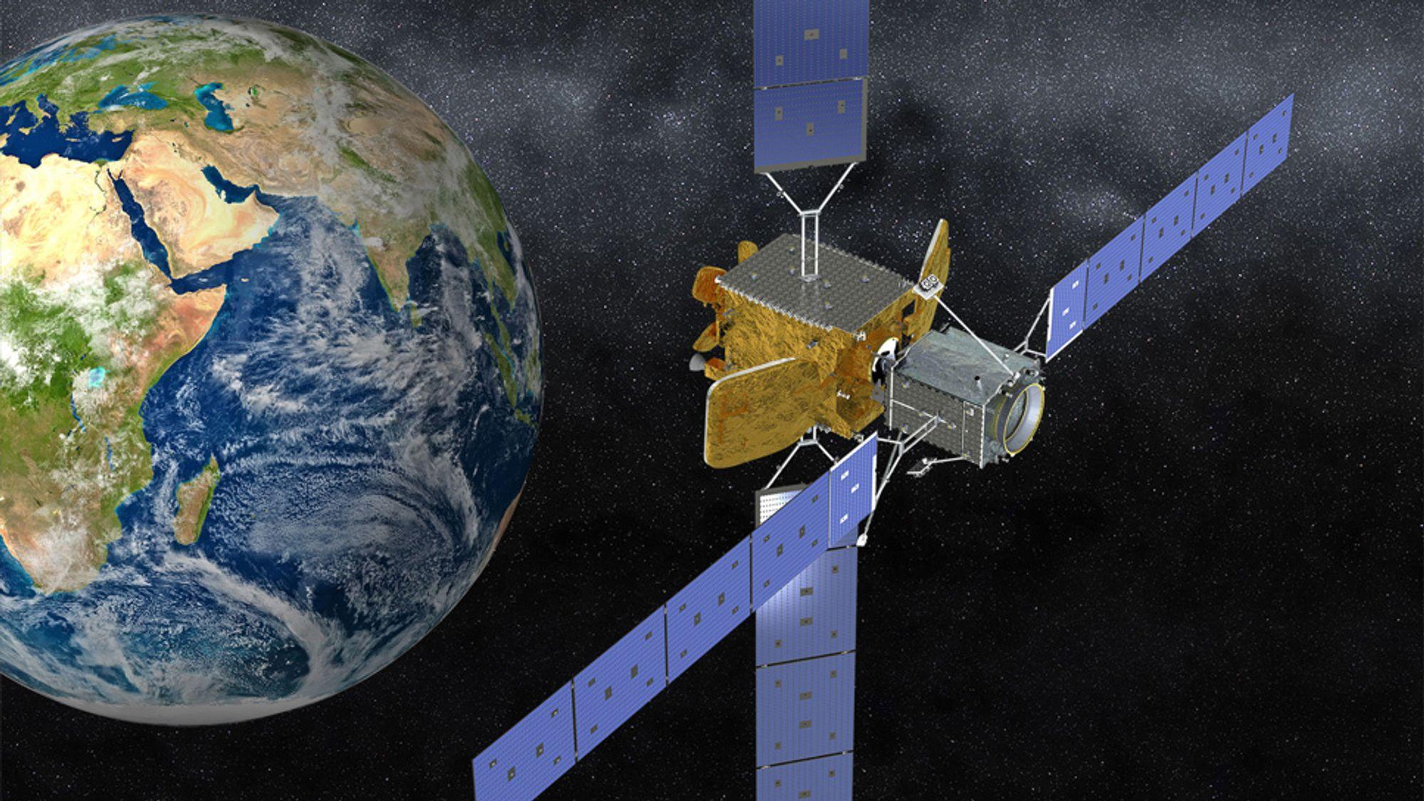 I rommet: Illustrasjonen av Intelsat 10-02 koblet til MEV-2, der MEV er den grå boksen i forgrunnen som vender bort fra jorden.