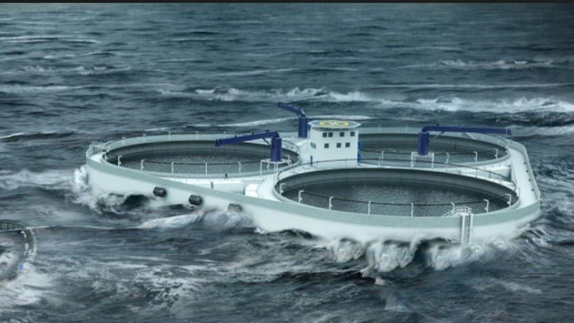 Betongmerden Øymerd skal etter planen bygges av Kværner i Norge. Illustrasjonen skal vise anlegget i bølgehøyde på 1,5 meter.