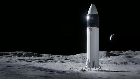 Illustrasjon av Starship på Månen.