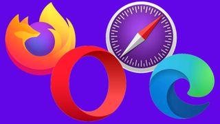 Logoene til Firefox, Opera,. Safari og Edge.