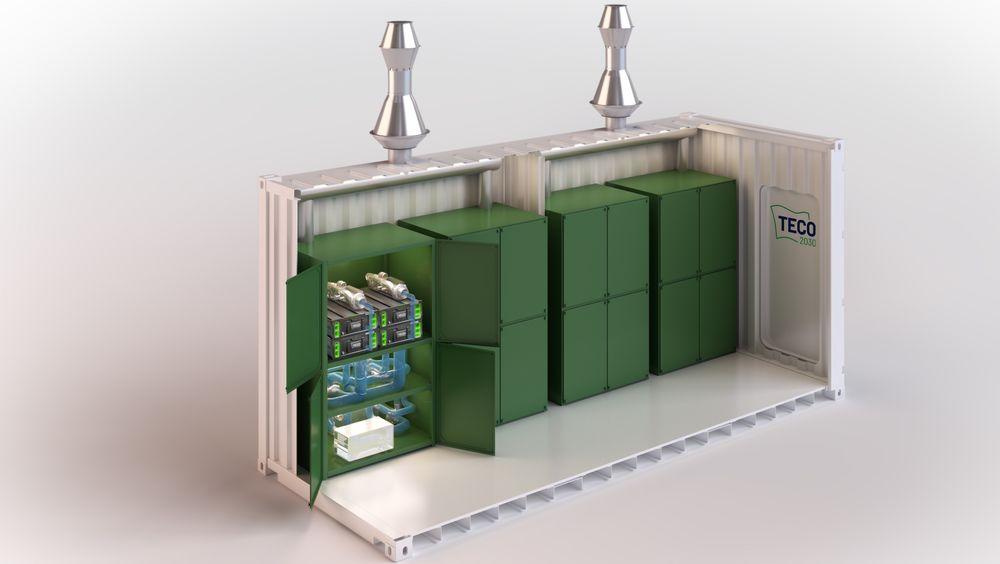 Brenselcellene kan leveres i konteinere til byggeplassen, hvor det også vil utstasjoneres hydrogentanker.