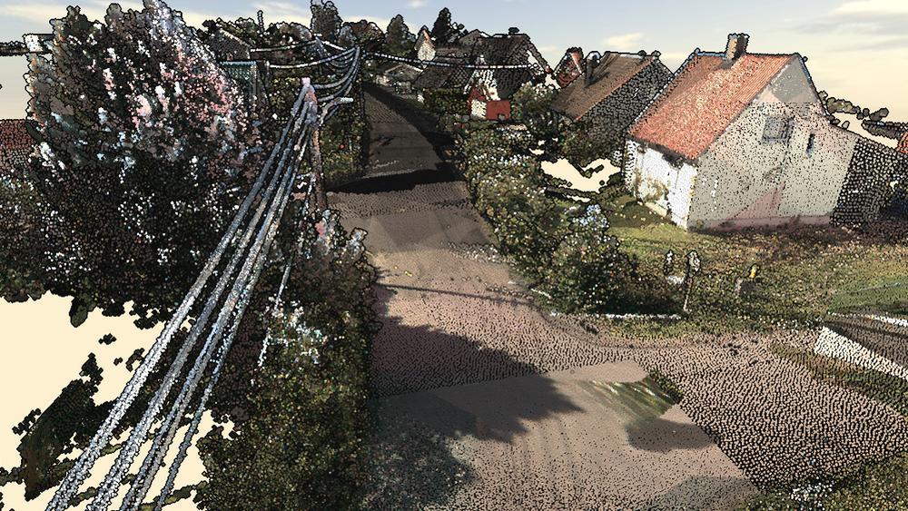Om man klarer å skalere opp hyperdetaljerte kartsystemer som på bildet, kan det blant annet gi flere selvkjørende kjøretøy på norske veier. Stillbilde fra Kartverkets punktsky-prototype.