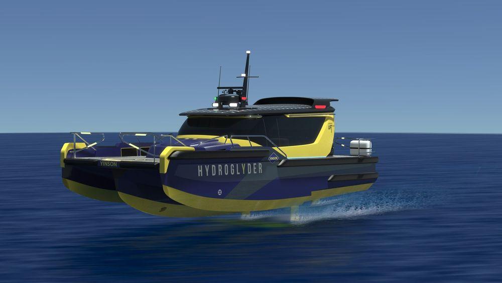 Hydroglyder kalles det  batteridrevne konseptfartøyet til Lift Ocean og Yinson. Slike kan erstatte 2.000 dieseldrevne arbeidsbåter som brukes i Singapore havn.
