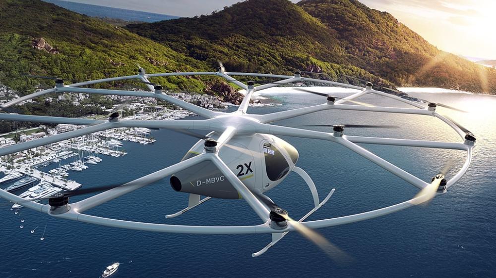 Tyske Volocopter kjemper om å bli først på markedet med en flygende taxi.