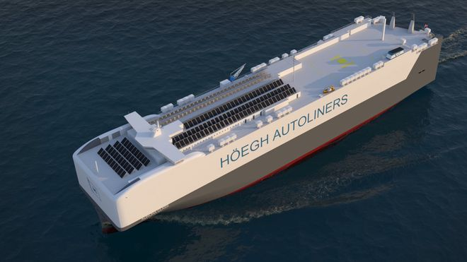 Den nye Aurora-klassen bilskip har plass til 9.100 biler og skal gå på LNG med batteripakke, solceller og landstrøm.