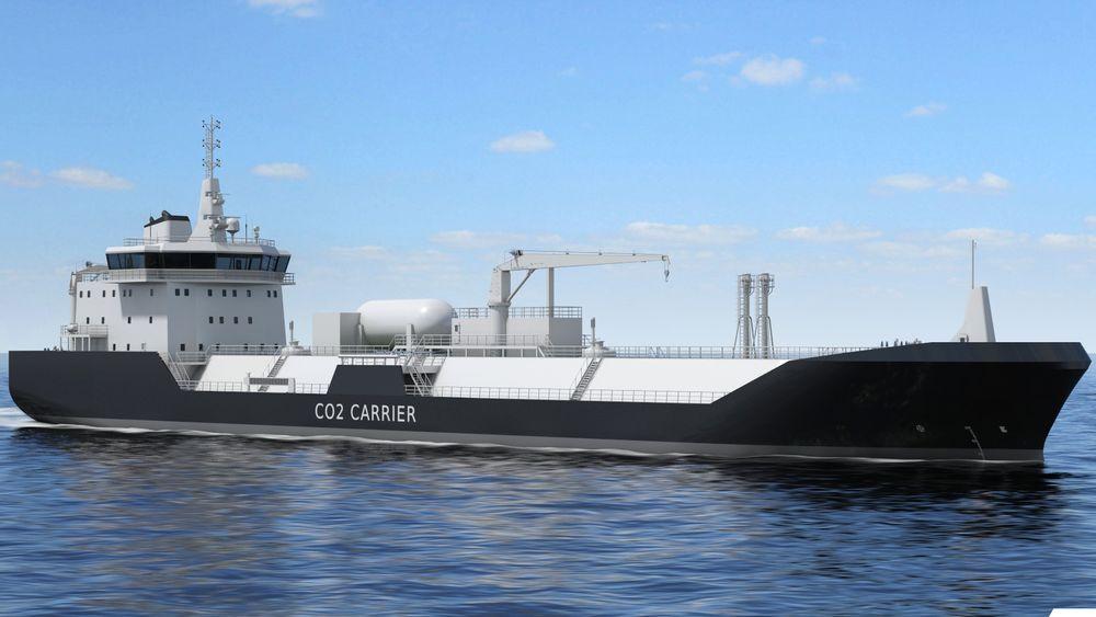 Skisse av et  tankskip for frakt av flytende karbondioksid. Wärtsilä har utviklet tankarrangement og laste/lossesystem og lasthåndtering. Illustrasjon: Wärtsilä