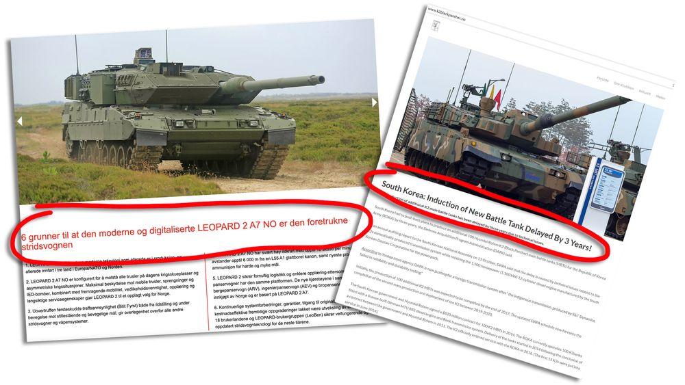 Kavaleriklubben eide inntil nylig begge disse nettsidene for de to kandidatene i den norske stridsvognkonkurransen, med ganske ulikt budskap på Leopard2A7.no (t.v) og K2blackpanther.no Førstnevnte er nå overdratt til KMW, mens den siste er parkert.