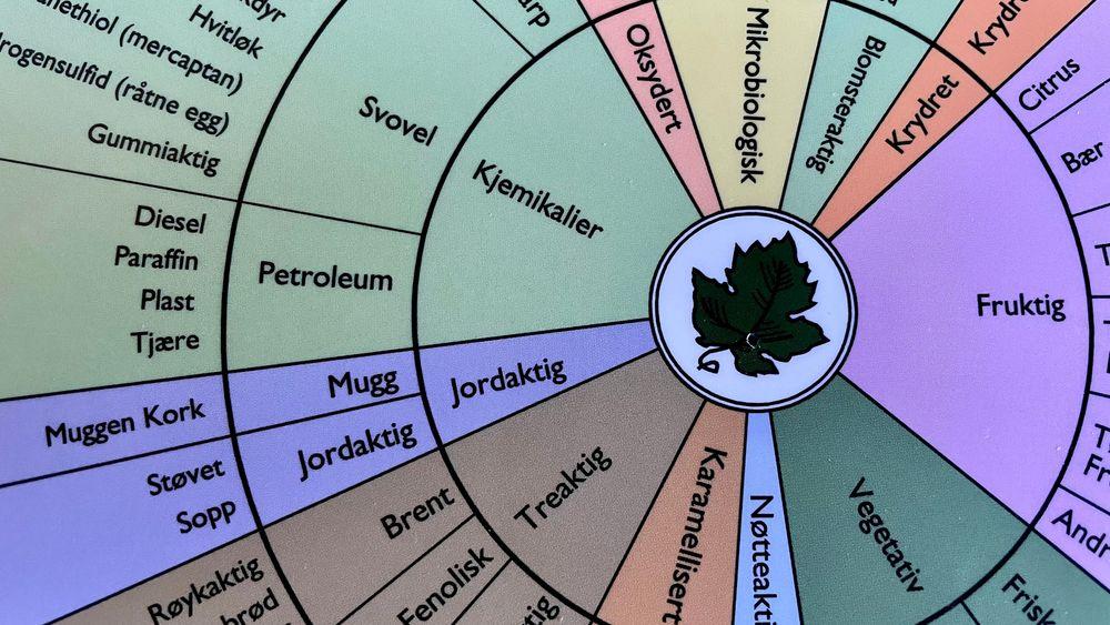 Aromaer man finner i vin kan med fordel grupperes når man skal lære å kjenne dem igjen, og et aromahjul som dette kan være et nyttig hjelpemiddel.