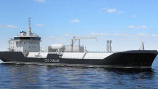 Skisse av et  tankskip for frakt av flytende karbondioksid. Wärtsilä har utviklet tankarrangement og laste/lossesystem og lasthåndtering.