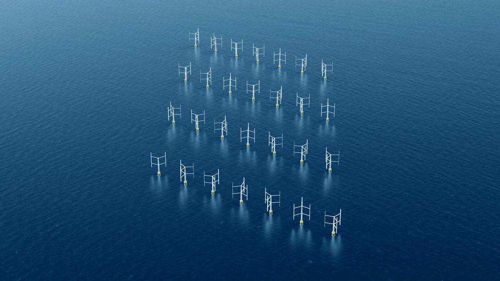 Offshore vindpark med vertikale vindturbiner. Foto: Oxford Brookes University