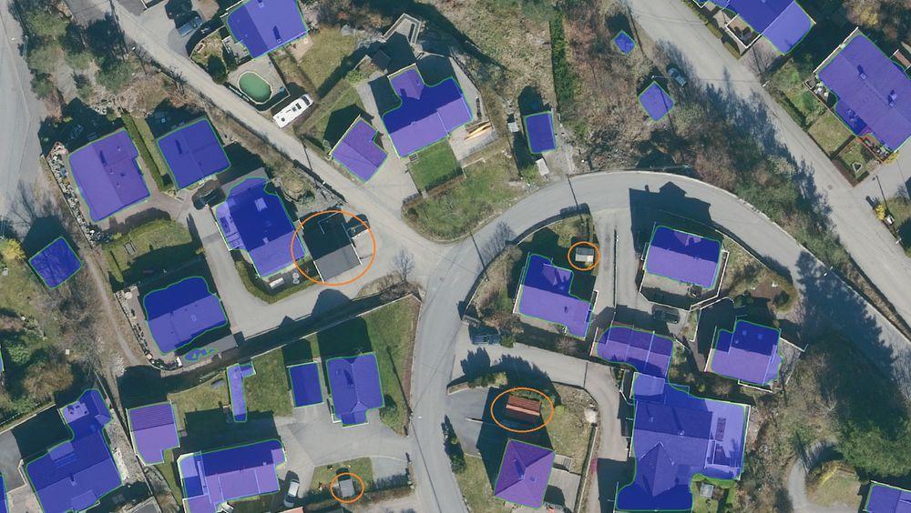 Den kunstige intelligensen klarte å identifisere de fleste bygningene i dette nabolaget. Nå skal den trenes opp til å bli langt mer treffsikker.