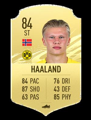 Skjermbilde av Erling Haalands spillerkort i Ultimate Team.