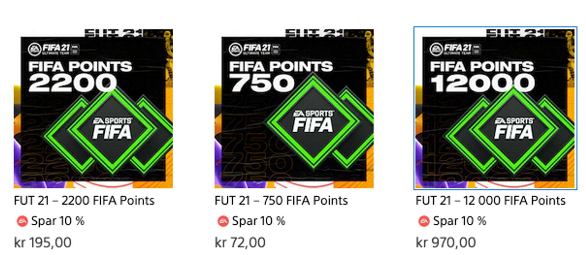 Skjermbilde av FIFA-poeng i nettbutikk. 12000 poeng koster 970 kroner.