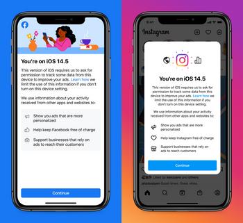 Informasjon som Facebook- og Instagram-appene nå viser IOS-brukere i forbindelse med nye personvernvalg.
