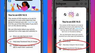 Informasjon som Facebook- og Instagram-appene nå viser IOS-brukere i forbindelse med nye personvernvalg, med ring rundt punktet om at tjenestene kanskje ikke vil være gratis i framtiden.