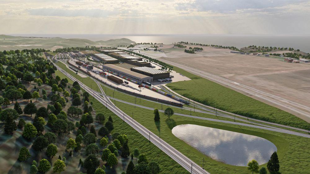 Slik, liggende mellom de nye dobbeltsporene og E18 på Østsiden av terminalen kan en godsterminal på Kopstad se ut - om partene blir enige.