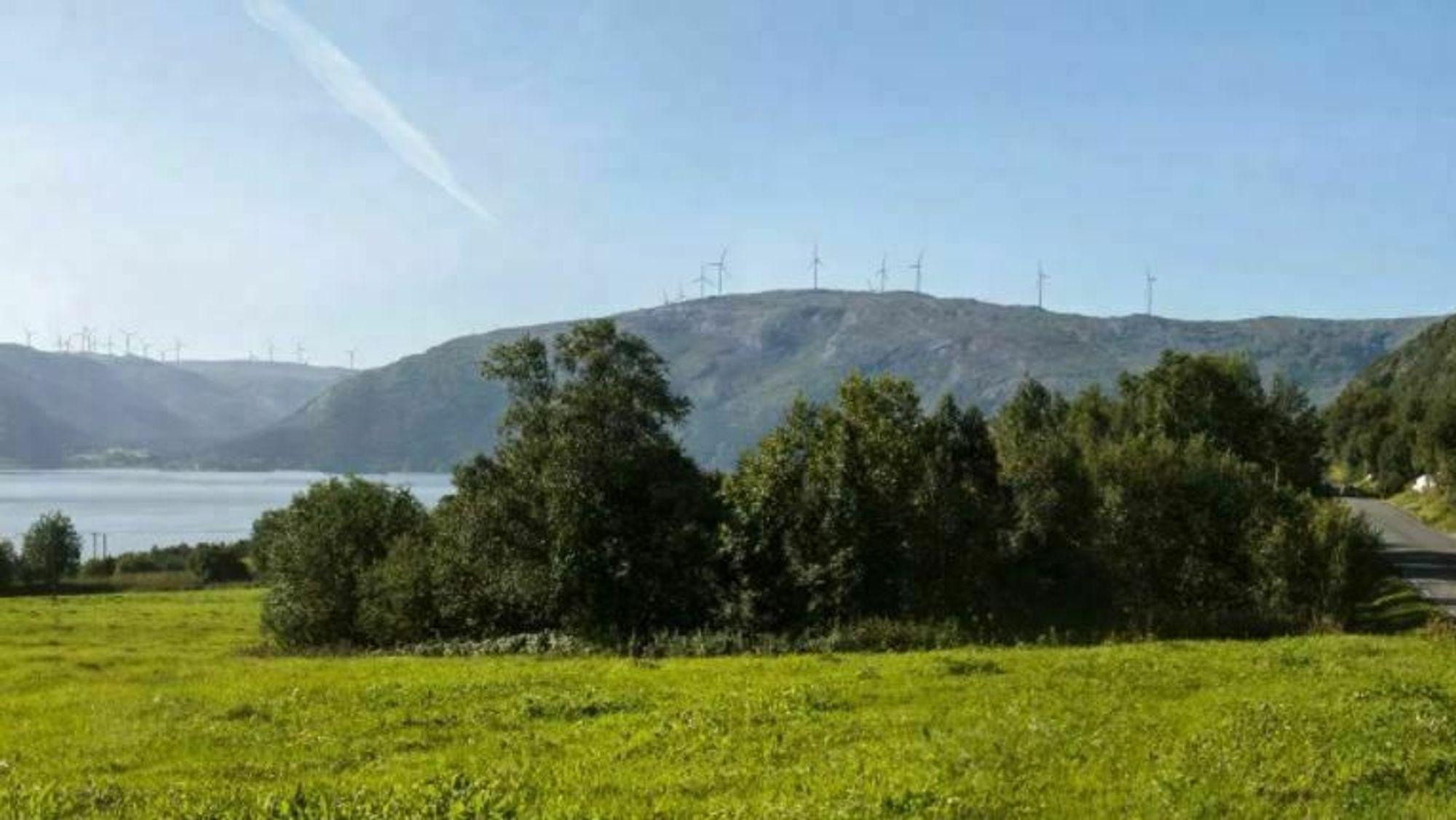 Øyfjellet vindpark sett fra Holandsvika.