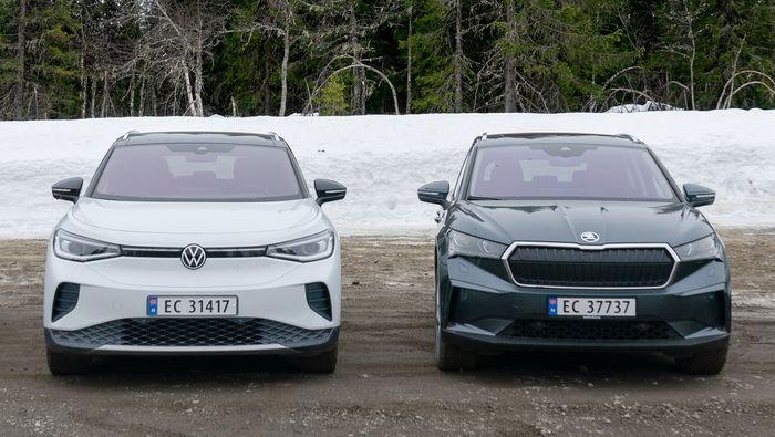 Samletest av Volkswagen ID.4, Skoda Enyaq iV80, Volvo XC40 P8 og Ford Mustang Mach-e.