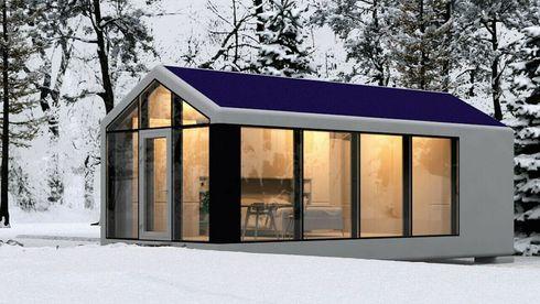 passivdom mikrohus smarthus isolasjon solceller polymer 3D-print gråvann filtrering off grid