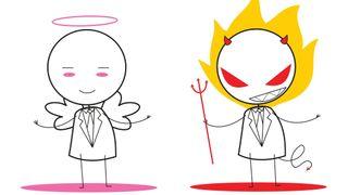 Tegning av dresskledd engel og dresskledd djevel - strekfigurer