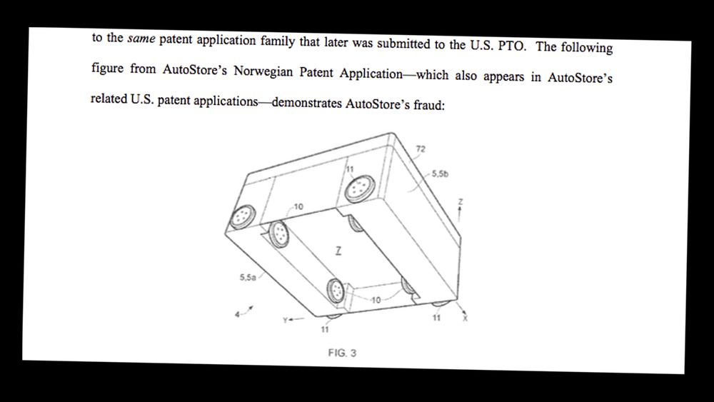 I stevningen hevder Ocado at denne figuren viser hvordan Autostore bedro amerikanske patentmyndigheter.