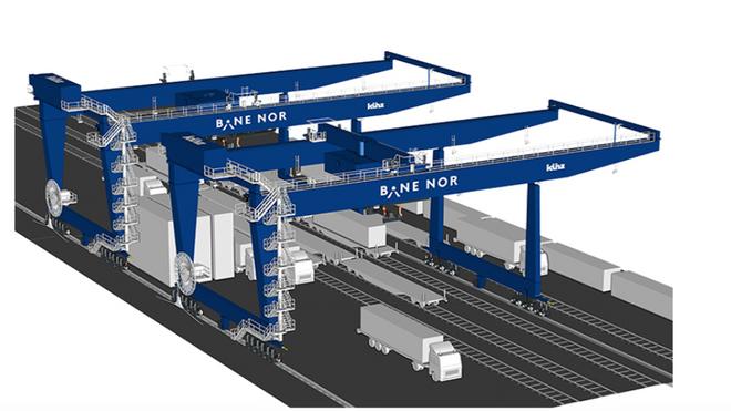 Nye, halv-automatiserte kraner på Alnabru godsterminal. Kommer i 2022.