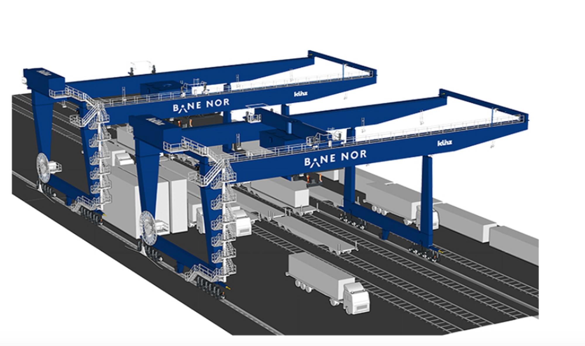 To nye, halv-automatiserte kraner er ventet til Alnabru godsterminal i Oslo i 2022.