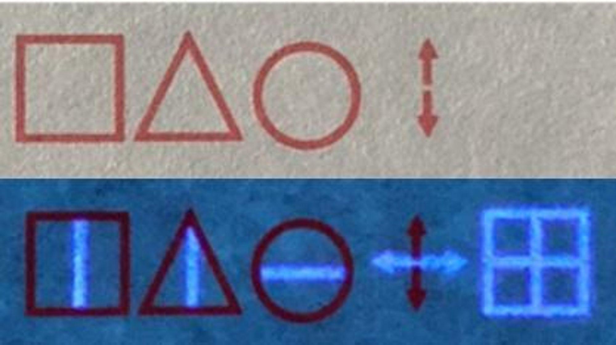 Øverste linje skrevet i rødt dekodes til 'STOP'. Nederste linje, som er tilføyd usynlig blekk, dekodes til 'BEGIN'.